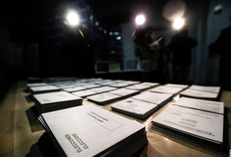 epa07971593 View of the polling material for general elections in a warehouse in Valencia, eastern Spain, 04 November 2019. Spain will hold general elections on 10 November 2019, after Spanish Primer Minister Sanchez failed to form government following 28 April elections.  EPA/Manuel Bruque