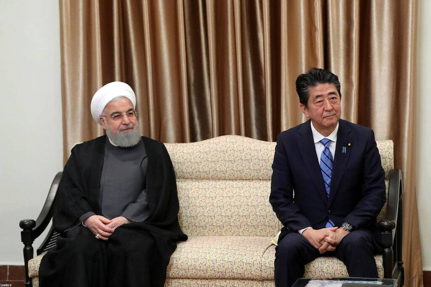 Iranian President Hassan Rouhani, Japan's Prime Minister Shinzo Abe meet with the Iran's Supreme Leader Ayatollah Ali Khamenei in Tehran, Iran June 13, 2019. Official Khamenei website/Handout via REUTERS ATTENTION EDITORS - THIS IMAGE WAS PROVIDED BY A THIRD PARTY. NO RESALES. NO ARCHIVES