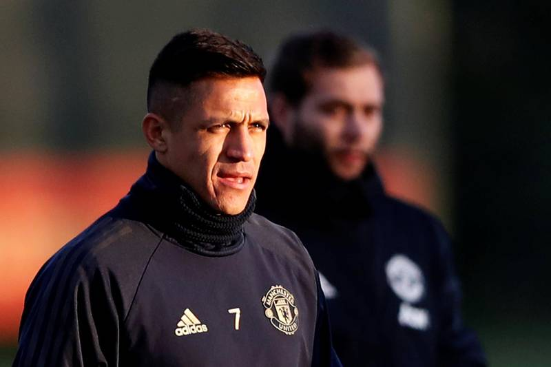 Soccer Football - Champions League - Manchester United Training - Aon Training Complex, Manchester, Britain - November 26, 2018   Manchester United's Alexis Sanchez during training   Action Images via Reuters/Carl Recine