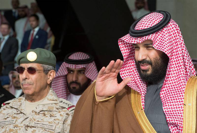 Saudi Arabia's Crown Prince Mohammed bin Salman gestures during the graduation ceremony of the 93rd batch of the cadets of King Faisal Air Academy, in Riyadh, Saudi Arabia, February 21, 2018. Bandar Algaloud/Courtesy of Saudi Royal Court/Handout via REUTERS ATTENTION EDITORS - THIS PICTURE WAS PROVIDED BY A THIRD PARTY.