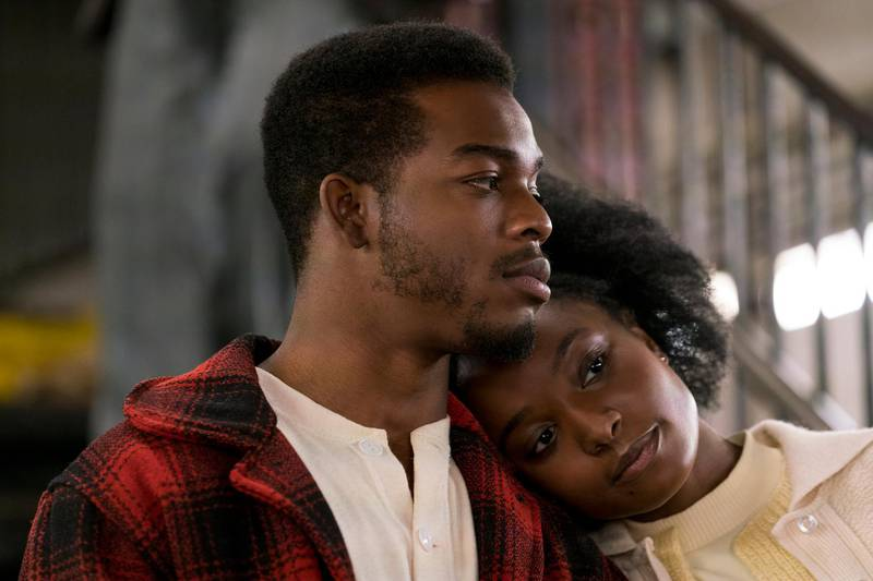 """This image released by Annapurna Pictures shows Stephan James, left, and KiKi Layne in a scene from """"If Beale Street Could Talk."""" On Thursday, Dec. 6, 2018, the film was nominated for a Golden Globe award for best motion picture drama. The 76th Golden Globe Awards will be held on Sunday, Jan. 6. (Tatum Mangus/Annapurna Pictures via AP)"""