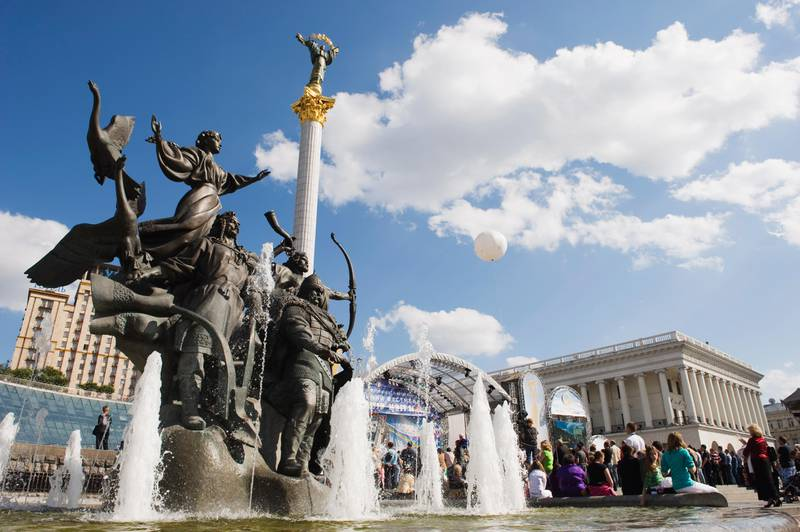 Statue of the brothers and sister who founded Kiev, Maidan Nezalezhnosti (Independence Square), Kiev, Ukraine, Europe (Christian Kober/Robert Harding/Getty Images)