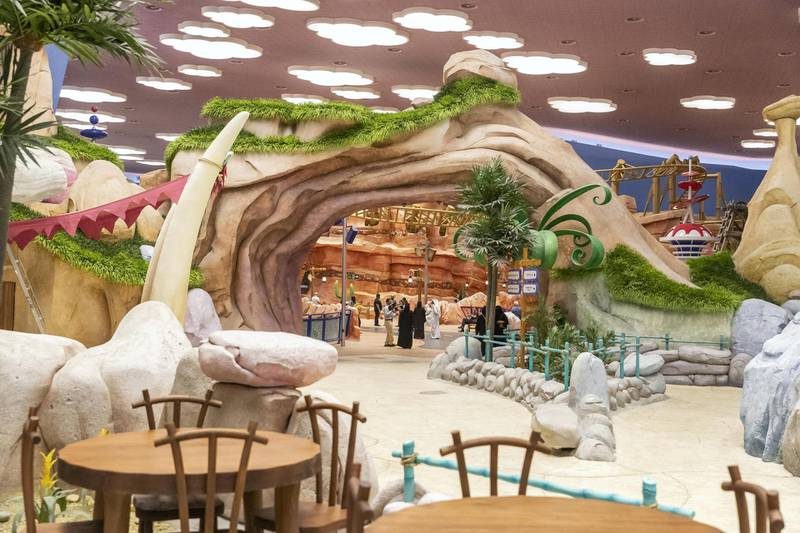 ABU DHABI, UNITED ARAB EMIRATES. 24 JULY 2018. Warner Brother World on Yas Island West. Media tour of the Warner Bros World Abu Dhabi opening. The Flinstones / Bedrock area of the park. (Photo: Antonie Robertson/The National) Journalist: Haneen Dajani. Section: National.
