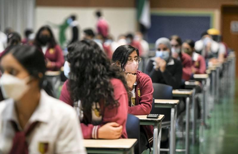 Abu Dhabi, United Arab Emirates - Pupils seated for the Mathematic, grade 11  exam hall at Gems Cambridge International School in Baniyas. Khushnum Bhandari for The National