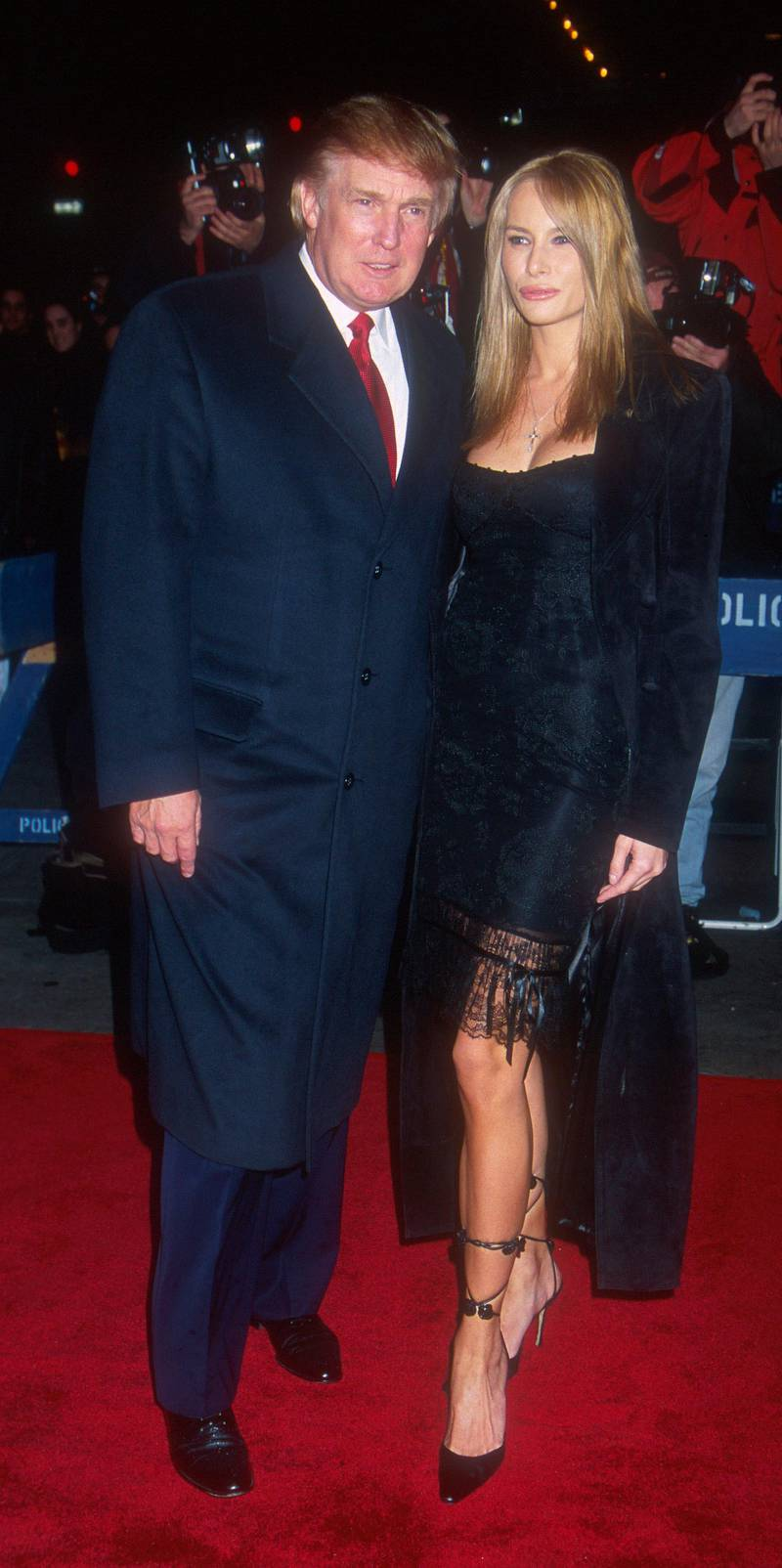 """E367946 06: Donald Trump and Melania Knauss arrive for the world premiere of """"I Dreamed Of Africa"""" April 18, 2000 at Sony Theatres Lincoln Square in New York City. (Photo by Laura Walters/Liaison Agency)"""