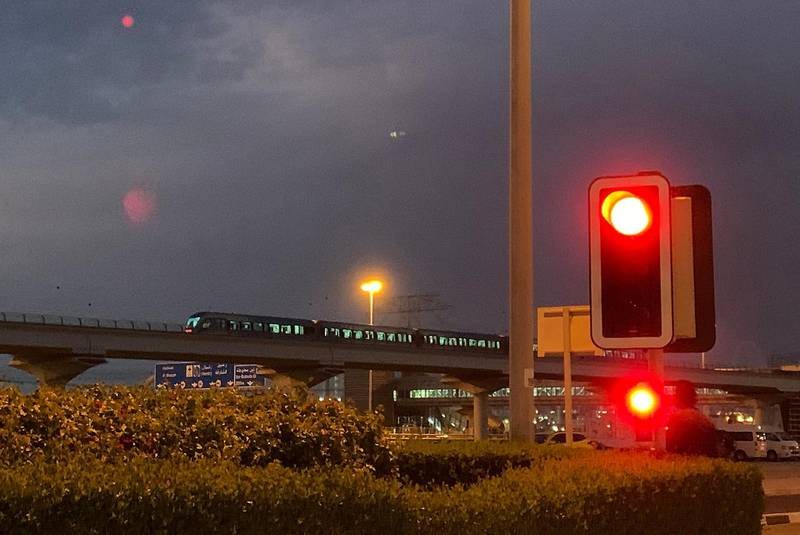 DUBAI, UNITED ARAB EMIRATES , March 26- 2020 :- Dubai Metro near the Ibn Battuta metro station before the public restrictions starting at 8pm till 6am during the weekend in Dubai. (Pawan Singh / The National) For News/Online/Instagram.