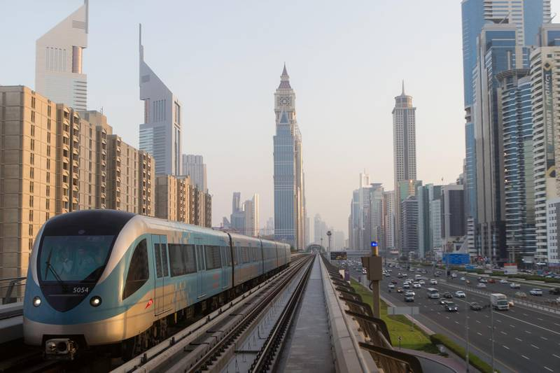 Dubai, United Arab Emirates, June 19, 2017:     General view of the metro from the World Trade Centre station along Sheikh Zayed Road in downtown Dubai on June 19, 2017. Christopher Pike / The NationalJob ID: Reporter:  N/ASection: NewsKeywords:  *** Local Caption ***  CP0619-na-standalone-01.JPG