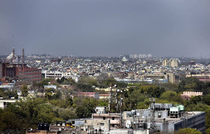 NEW DELHI, INDIA - MARCH 25: A view of the city skyline seen from the Police Headquarters at ITO during the first day of national lockdown imposed by PM Narendra Modi to curb the spread of coronavirus on March 25, 2020 in New Delhi, India. Prime Minister Narendra Modi on Tuesday announced a complete lockdown of the entire country for 21 days in an unprecedented drastic measure to try halt the spread of coronavirus as the number of cases in the country crossed 500. Jama Masjid can be seen at the background. (Photo by Sonu Mehta/Hindustan Times via Getty Images)