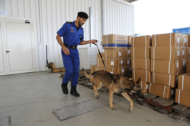 DUBAI, UAE. May 5, 2014 - A Dubai Customs inspector uses a special canine unit to search for drugs in an unloaded shipment in Jebel Ali Port in Dubai, May 5, 2014. (Photos by: Sarah Dea/The National, Story by: Tom Arnold, Business)