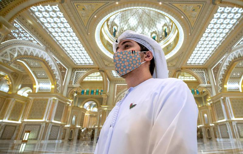 Abu Dhabi, United Arab Emirates, October  20, 2020.   Qasr Al Watan reopens to public tours on Tuesday with strict measures in place to limit the spread of Covid-19. Victor Besa/The NationalSection:  NAReporter: