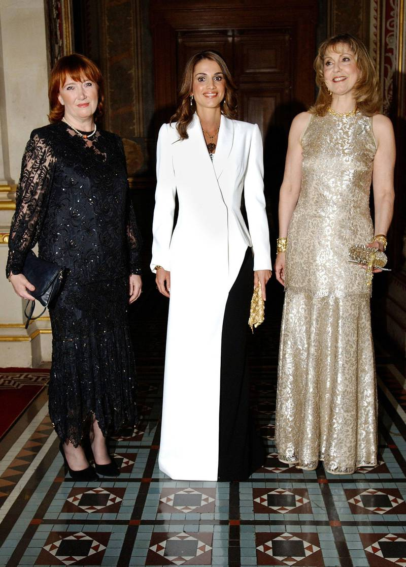 LONDON - JUNE 17:  Baroness Symons of Vernham Dean (L), Queen Rania Al-Abdullah of Jordan (C) and Maria Shammas (R) attend the British Red Cross Gold Gala Ball at the Foreign & Commonwealth Office June 17, 2002 in London.  (Photo by John Li/Getty Images)