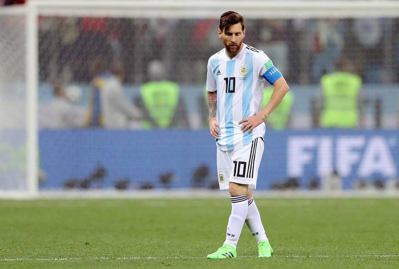 Soccer Football - World Cup - Group D - Argentina vs Croatia - Nizhny Novgorod Stadium, Nizhny Novgorod, Russia - June 21, 2018   Argentina's Lionel Messi looks dejected after the match    REUTERS/Ivan Alvarado