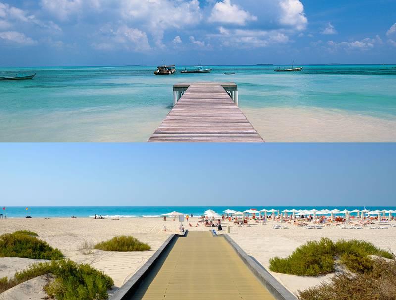 top: Boardwalk, Thulusdhoo, Maldives, Indian OceanBOTTOM: Public beach on Saadiyat Island in Abu Dhabi United Arab Emirates.Getty Images / Alamy