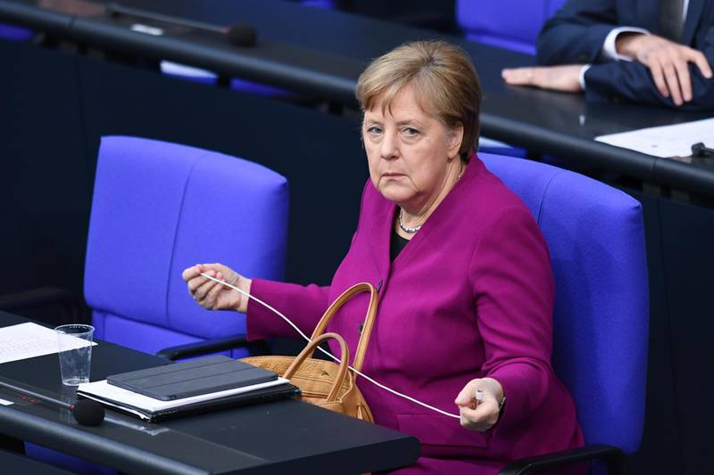 German Chancellor Angela Merkel attends a session at the lower house of parliament, Bundestag, as the spread of the coronavirus disease (COVID-19) continues, in Berlin, Germany, April 23, 2020. REUTERS/Annegret Hilse
