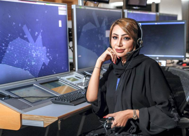 Abu Dhabi, U.A.E., July 25, 2018.  Portrait of Emirati woman in the field of air traffic control, Nouf Al  Afeefi, air traffic control supervisor, Abu Dhabi, Sheikh Zayed Air Navigation Centre. Victor Besa / The NationalSection:  NAReporter:  Nawal Al Ramahi