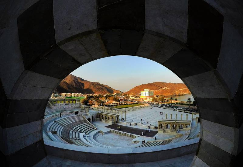 SHARJAH , UNITED ARAB EMIRATES , December 21– 2020 :-  View of the Khor Fakkan amphitheatre in Sharjah. ( Pawan Singh / The National ) For News/Standalone/Instagram/Big Picture.