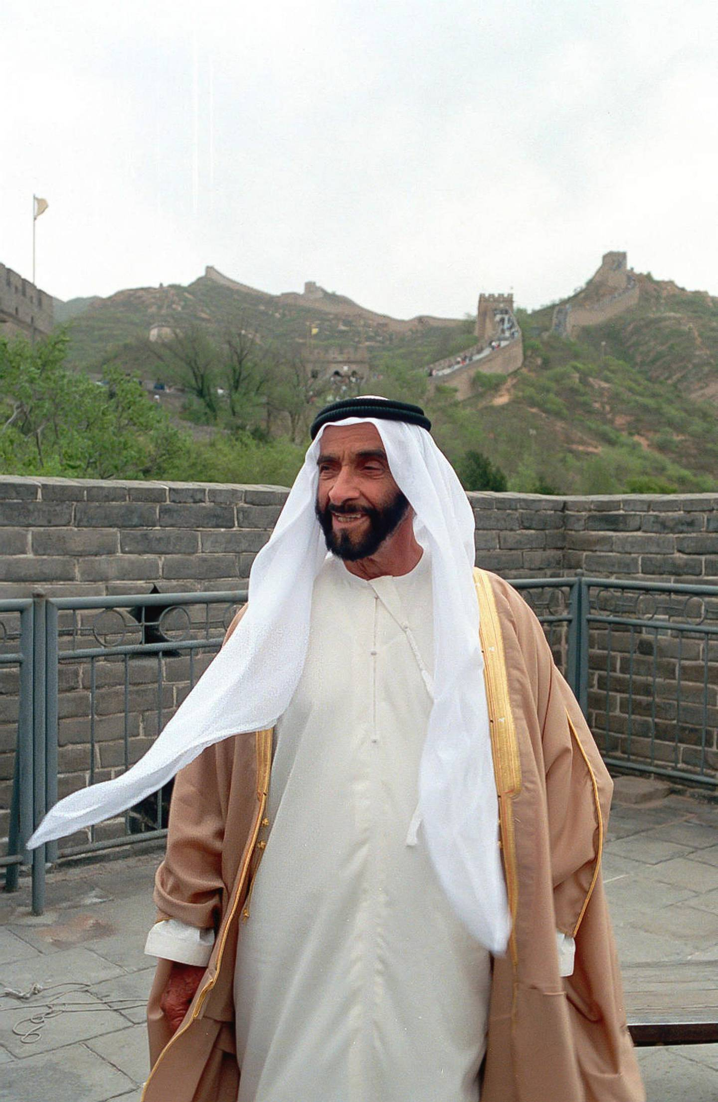 CHINA. Undated photograph of HH Sheikh Zayed bin Sultan bin Zayed Al Nahyan, Founding President of the United Arab Emirates during a visit to China. The image was supplied to the National Archive by the Embassy of The People's Republic of China to the UAE.(National Archive) *** Local Caption ***  1990 HH Sheikh Zayed at Great Wall.JPG