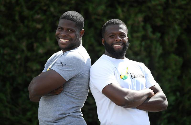 PETERBOROUGH, ENGLAND - JUNE 02:  Jamaica Bobsleigh team athletes Shanwayne Stephens (Right) and Nimroy Turgott pose for a portrait after training on June 02, 2020 in Peterborough, England. (Photo by Shaun Botterill/Getty Images)