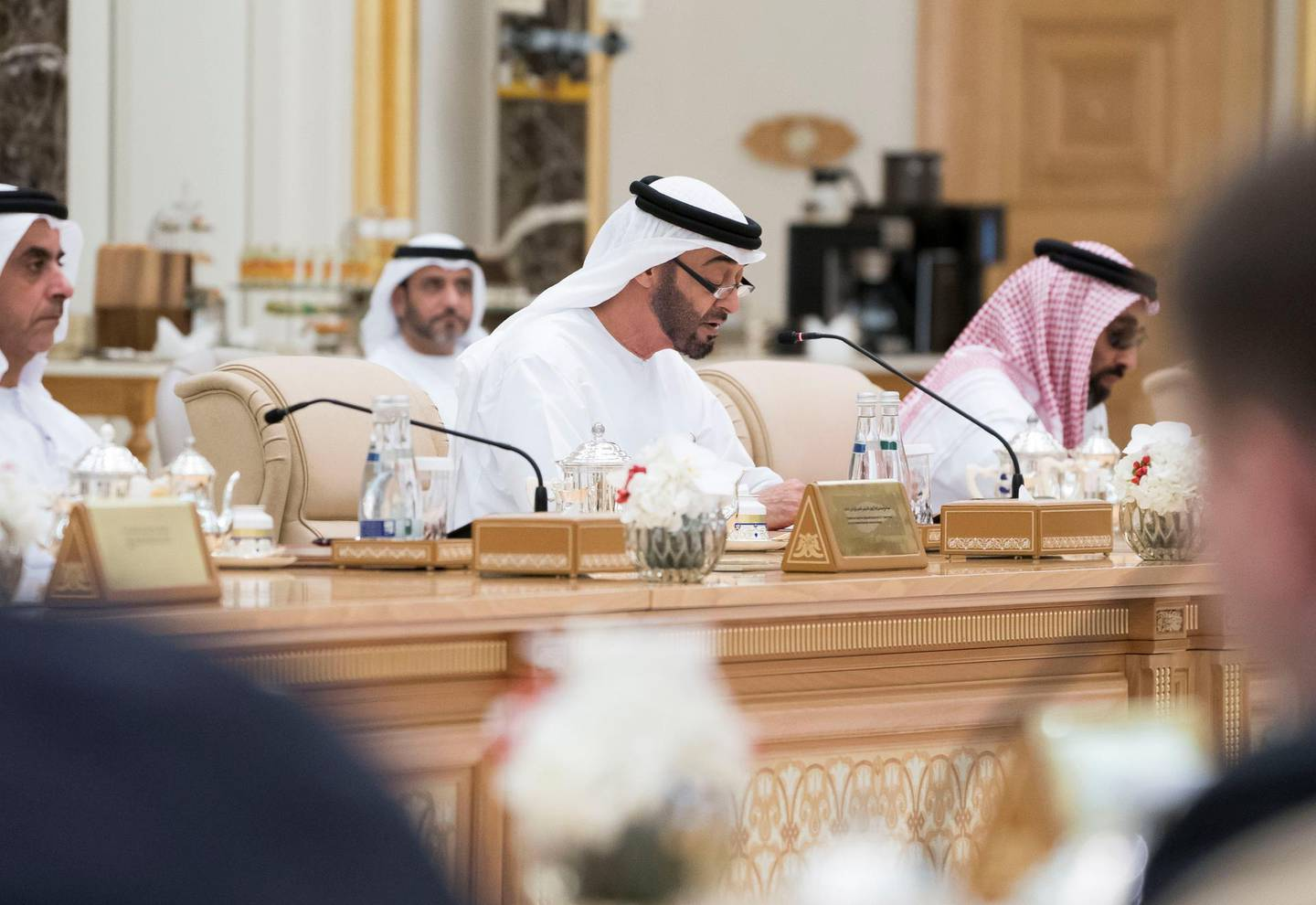 ABU DHABI, UNITED ARAB EMIRATES - October 15, 2019: HH Sheikh Mohamed bin Zayed Al Nahyan, Crown Prince of Abu Dhabi and Deputy Supreme Commander of the UAE Armed Forces (C) attends an economic meeting with HE Vladimir Putin Vladimirovich, President of Russia,(not seen)  during a state visit reception at Qasr Al Watan.   ( Mohamed Al Hammadi / Ministry of Presidential Affairs ) ---