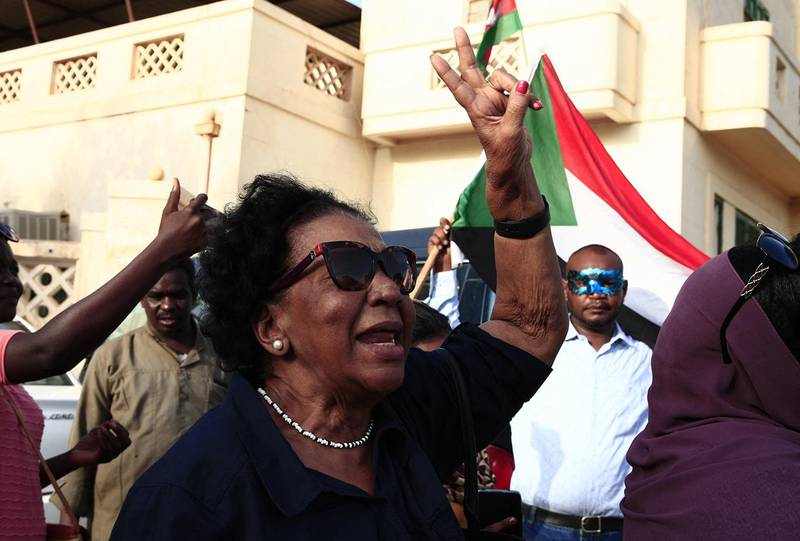 A Sudanese woman takes part in a rally against the oppression of women, in Oumdurman the capital Khartoumís twin city on August 25, 2019. (Photo by Ebrahim HAMID / AFP)