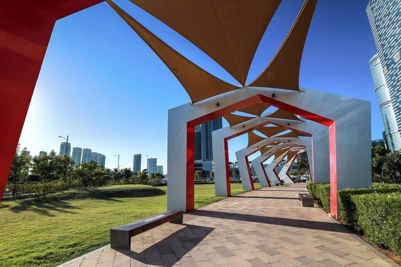 Abu Dhabi, United Arab Emirates, October  21, 2020.   Al Reem Island for area guide.  Gateway Park.Victor Besa/The National.Section:  NAReporter:  Gillian Duncan