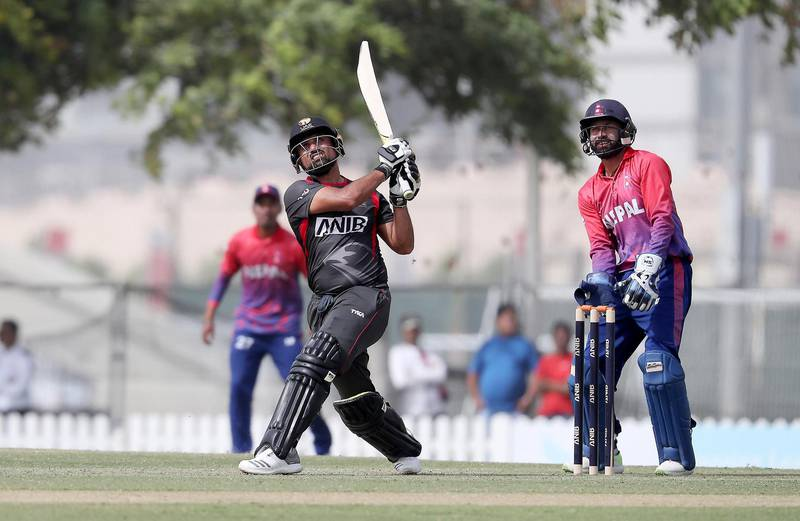 DUBAI , UNITED ARAB EMIRATES , January 28 – 2019 :- Shaiman Anwar of UAE playing a shot during the one day international cricket match between UAE vs Nepal held at ICC cricket academy in Dubai. He scored 87 runs in this match. ( Pawan Singh / The National ) For Sports. Story by Paul