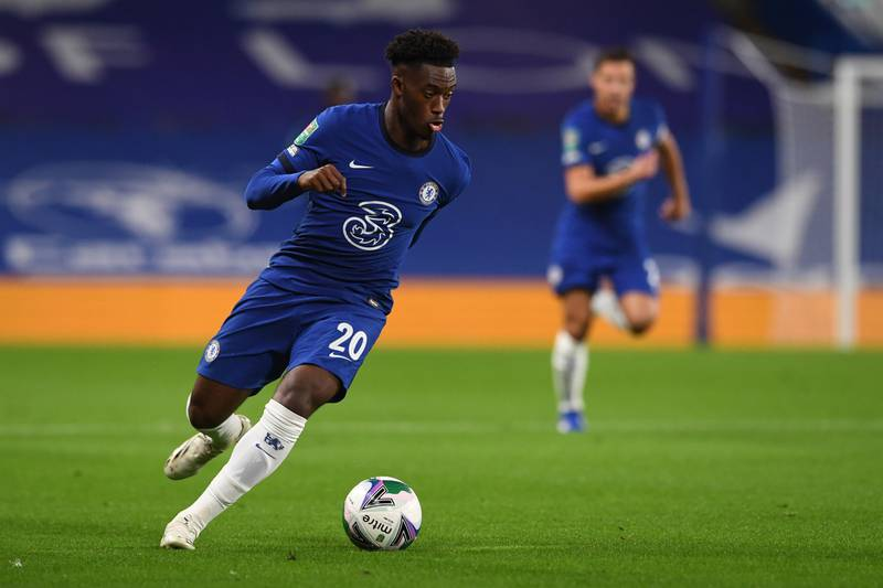 Chelsea's English midfielder Callum Hudson-Odoi runs with the ball during the English League Cup third round football match between Chelsea and Barnsley at Stamford Bridge in London on September 23, 2020. (Photo by NEIL HALL / POOL / AFP) / RESTRICTED TO EDITORIAL USE. No use with unauthorized audio, video, data, fixture lists, club/league logos or 'live' services. Online in-match use limited to 120 images. An additional 40 images may be used in extra time. No video emulation. Social media in-match use limited to 120 images. An additional 40 images may be used in extra time. No use in betting publications, games or single club/league/player publications. /
