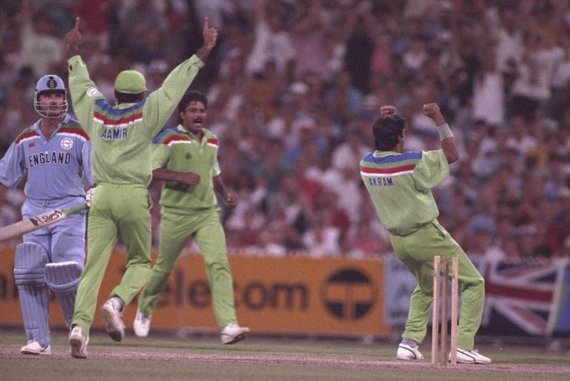 1992:  Wasim Akram of Pakistan takes the wicket of Allan Lamb of England during the final of the Cricket World Cup in Melbourne. Getty Images