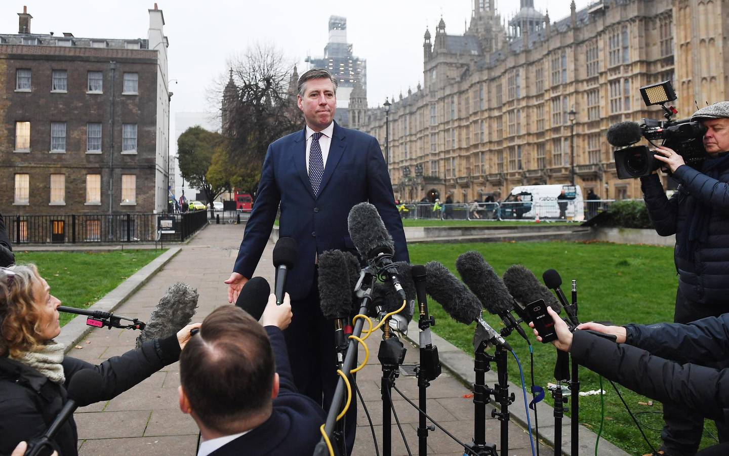 epa07225203 Chariman of the 1922 Committee Sir Graham Brady speaks to the media outside parliament in London, Britain, 12 December 2018. Theresa May will face a challenge to her leadership on 12 December 2018 after 48 letters calling for a contest were delivered to the Chariman of the 1922 Committee. May will find out her future after Conservative Members of Parliament vote between 18:00 GMT and 20:00 GMT later in the evening.  EPA/ANDY RAIN