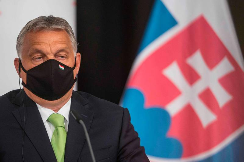 (FILES) In this file photo taken on June 11, 2020 Hungary's Prime Minister Viktor Orban addresses a joint press conference following the Visegrad Group (V4) meeting in Lednice, Czech Republic.   / AFP / Michal Cizek / TO GO WITH AFP STORY BY PETER MURPHY