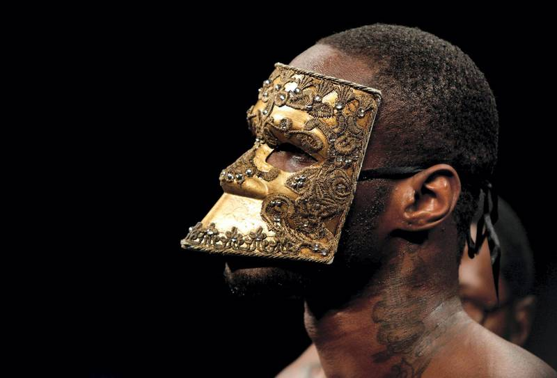LAS VEGAS, NV - JANUARY 17: Deontay Wilder wears a mask during his ring entrance for a title fight against WBC heavyweight champion Bermane Stiverne at the MGM Grand Garden Arena on January 17, 2015 in Las Vegas, Nevada. Wilder took the title by unanimous decision.   Steve Marcus/Getty Images/AFP