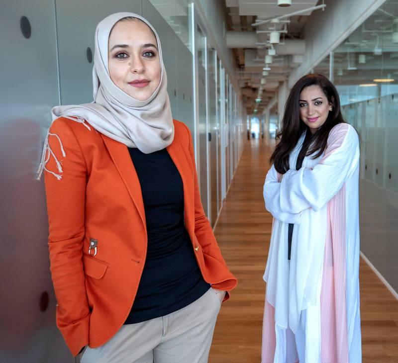 Abu Dhabi, United Arab Emirates, February 16, 2021. GenS: Takalam, online mental health counseling platform  co-founders,  Khawla Hammad, left, and Inas at Hub71.Victor Besa/The NationalReporter:  Kelsey WarnerSection:  BZ