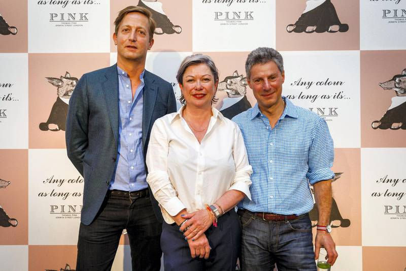 LONDON, ENGLAND - JUNE 13:  (L-R) Frederick Willems, Head of Design, Florence Torrens, Creative Director and Jonathan Heilbron, President and CEO of Thomas Pink, attend British brand Thomas Pink's Spring/Summer 2016 collection presentation at the Institute Of Contemporary Arts (ICA) as part of London Collections Men SS16 on June 13, 2015 in London, England. Presented against a botanical backdrop, inspired by Peter Schlesinger's 1970 photograph of David Hockney and Cecil Beaton, the collection celebrated Britain's charming and off-beat character. Photo by Tristan Fewings/Getty Images for Thomas Pink)  (Photo by Tristan Fewings/Getty Images for Thomas Pink)