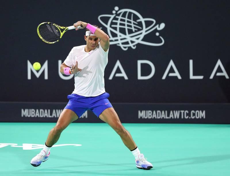 Abu Dhabi, United Arab Emirates - Reporter: Jon Turner: Rafael Nadal plays a shot during the final between Rafael Nadal v Stefanos Tsitsipas at the Mubadala World Tennis Championship. Saturday, December 21st, 2019. Zayed Sports City, Abu Dhabi. Chris Whiteoak / The National