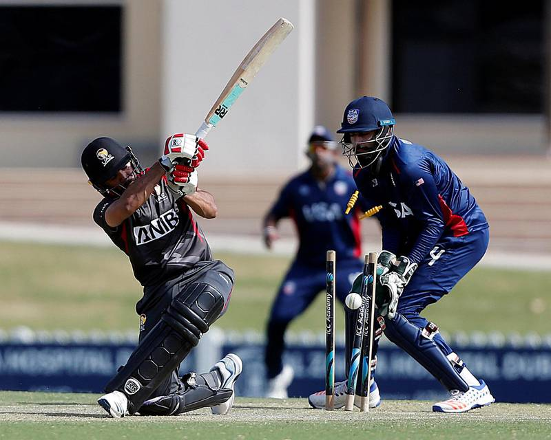Dubai, March, 16, 2019: C P Rizwan of UAE was clean bowled by Walsh Jr of USA during the T20 match at the ICC Academy in Dubai. Satish Kumar/ For the National / Story by Paul Radley