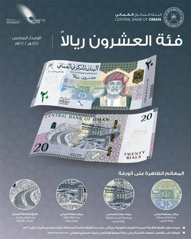 The Central Bank of Oman introduces new denominations of cash from the sixth issueMuscat on January 10 (Omani) The Central Bank of Oman announced the issuance of new denominations of cash  , namely twenty Omani riyals, ten Omani riyals, five Omani riyals, one riyal, and half a riyal and 100 baisa to complement the sixth edition From the new Omani banknotes.The new notes will be traded as legal tender alongside the banknotes currently in circulation starting tomorrow. courtesy: Oman news agency