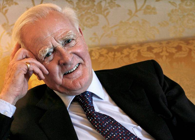epa08882872 (FILE) - A file picture dated 10 January 2007 shows British novelist John Le Carre, well known for his spy stories, following an interview in Barcelona, Spain (reissued 13 December 2020). According to media reports, John Le Carre has died aged 89.  EPA/GUIDO MANUILO *** Local Caption *** 50082296