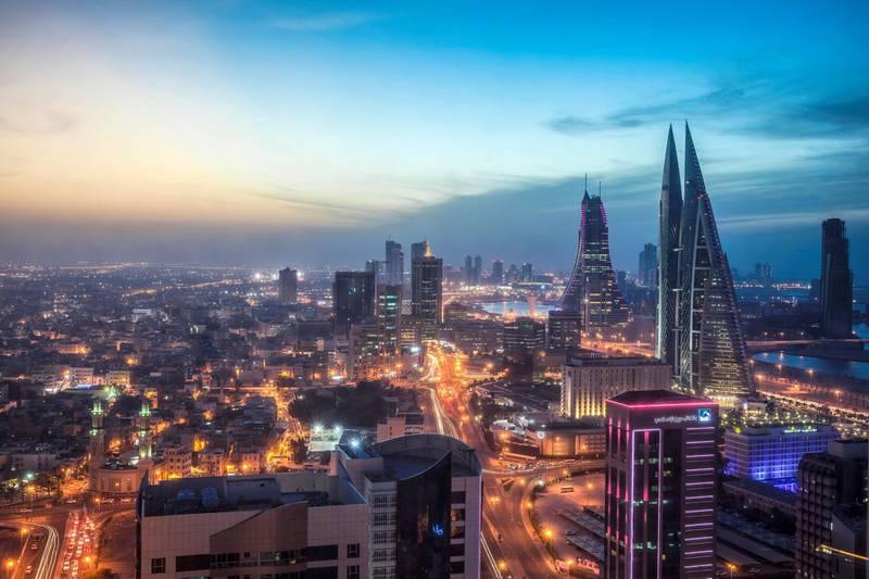 Bahrain, Manama, City center skyline looking towards Bahrain World Trade Center and Bahrain Financial Harbour