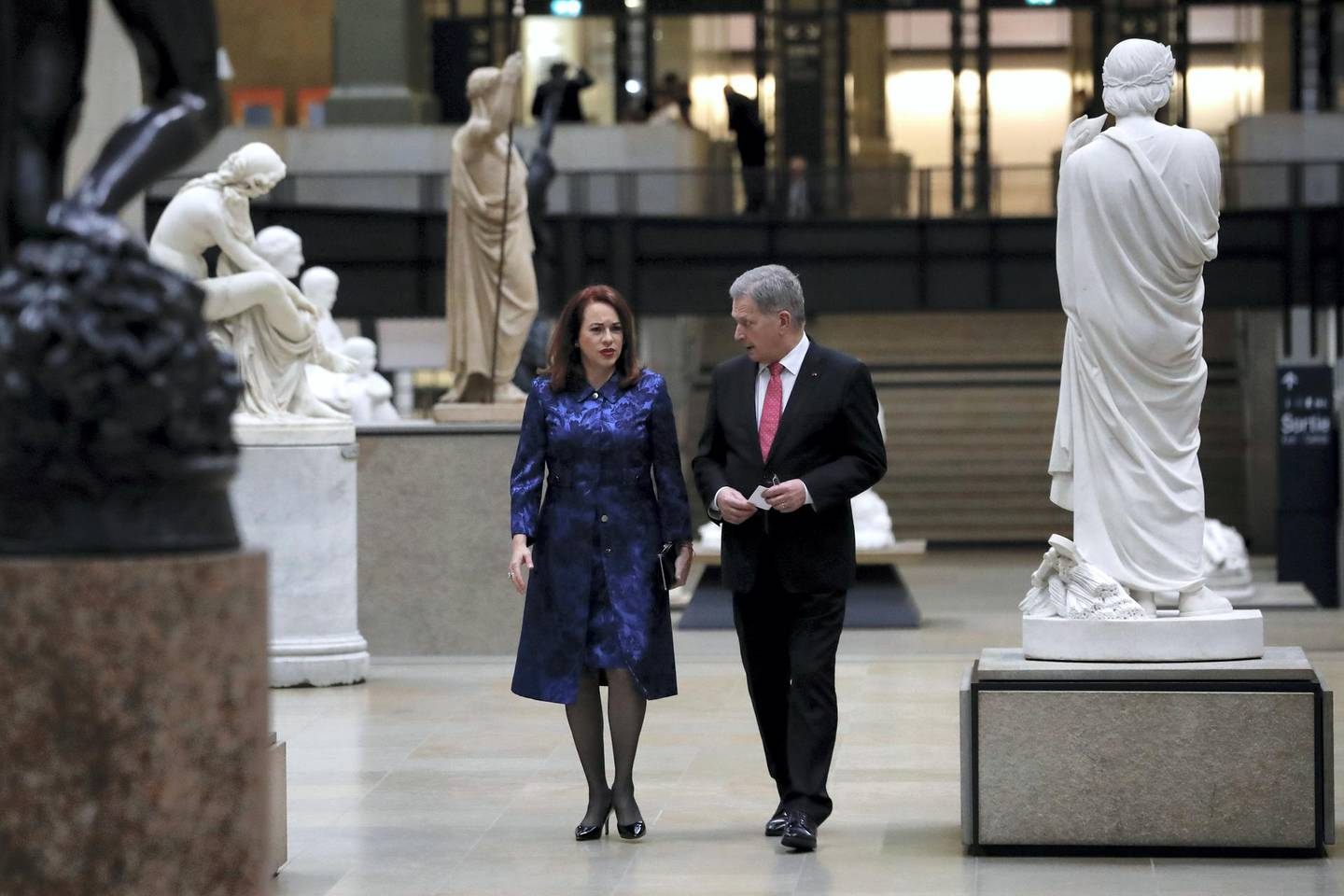 Maria Fernanda Espinosa Garces, President of the 73rd United Nations General Assembly (L) and guest arrive at the Musee d'Orsay in Paris on November 10, 2018 to attend a state diner and a visit of the Picasso exhibition as part of ceremonies marking the 100th anniversary of the 11 November 1918 armistice, ending World War I. (Photo by Ian LANGSDON / POOL / AFP)