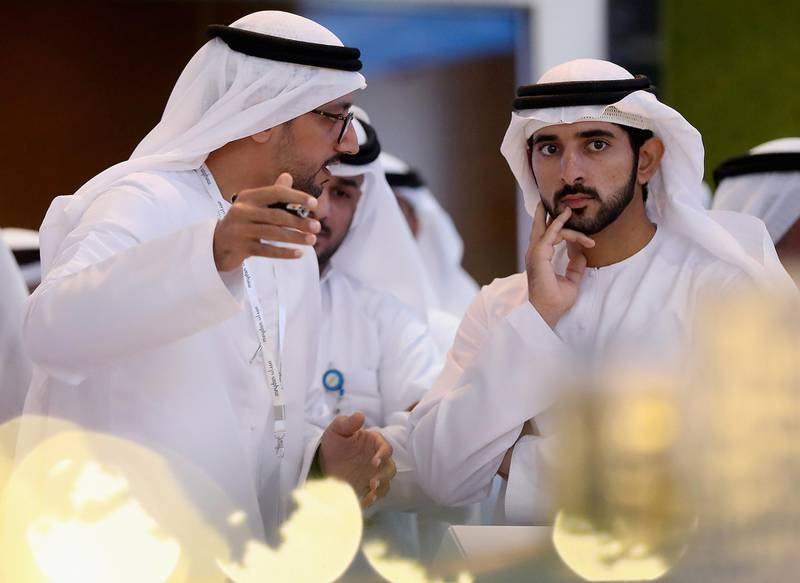 DUBAI, UNITED ARAB EMIRATES - SEPTEMBER 11:  Sheikh Hamdan Bin Mohammed Bin Rashid Al Maktoum, Crown Prince of Dubai attends Cityscape Global at Dubai World Trade Centre on September 11, 2017 in Dubai, United Arab Emirates.  (Photo by Francois Nel/Getty Images)