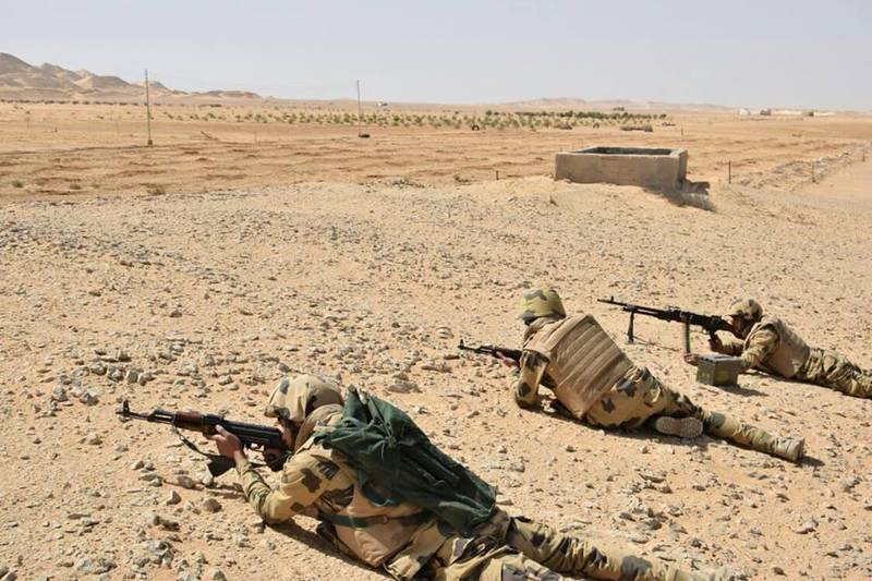 Egyptian Army soldiers are seen in the troubled northern part of the Sinai peninsula during a launch of a major assault against militants, in Al Arish, Egypt, in this undated handout picture made available by the Ministry of Defence March 4, 2018. Ministry of Defence/Handout via REUTERS ATTENTION EDITORS - THIS IMAGE WAS PROVIDED BY A THIRD PARTY. NO RESALES. NO ARCHIVES