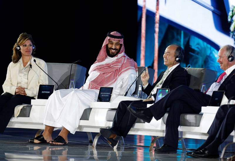 Saudi Crown Prince Mohammed bin Salman and Masayoshi Son, SoftBank Group Corp. Chairman and CEO, attend the Future Investment Initiative conference in Riyadh, Saudi Arabia October 24, 2017. REUTERS/Faisal Al Nasser