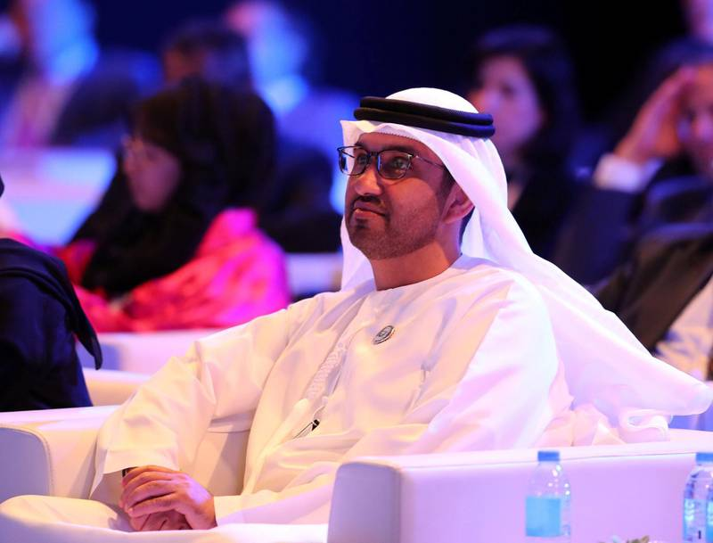 Abu Dhabi, United Arab Emirates - May 8th, 2018: Dr Sultan Ahmed Al Jaber at The National's Future Forum. Tuesday, May 8th, 2018 at Cleveland Clinic, Abu Dhabi. Chris Whiteoak / The National