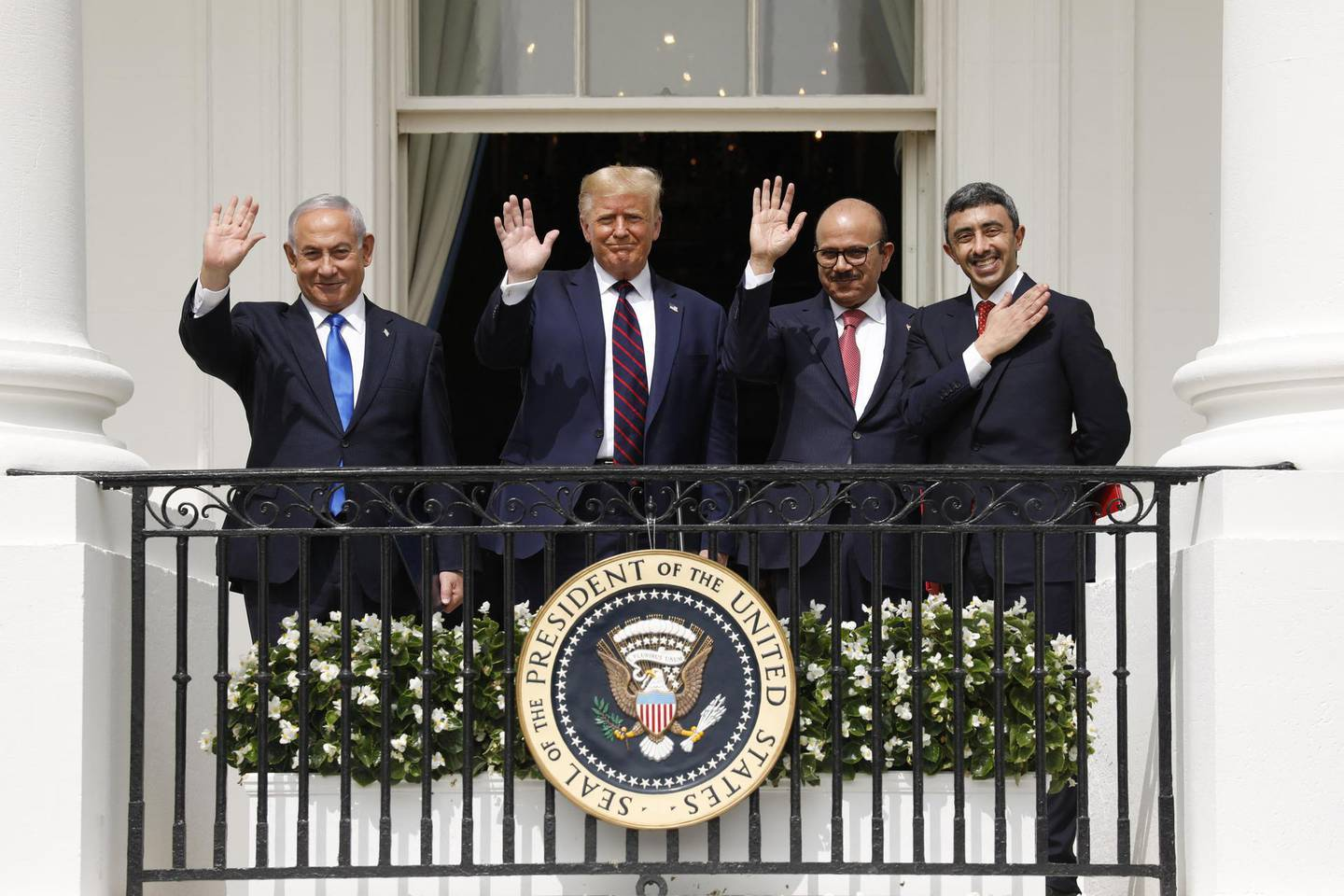 FILE: Bloomberg Best Of U.S. President Donald Trump 2017 - 2020: Benjamin Netanyahu, Israel's prime minister, from left, U.S. President Donald Trump, Abdullatif bin Rashid Al Zayani, Bahrain's foreign affairs minister, and Sheikh Abdullah bin Zayed bin Sultan Al Nahyan, United Arab Emirates' foreign affairs minister, stand during an Abraham Accords signing ceremony event on the South Lawn of the White House in Washington, D.C., U.S., on Tuesday, Sept. 15, 2020. Our editors select the best archive images looking back at Trump's 4 year term from 2017 - 2020. Photographer: Yuri Gripas/Abaca/Bloomberg