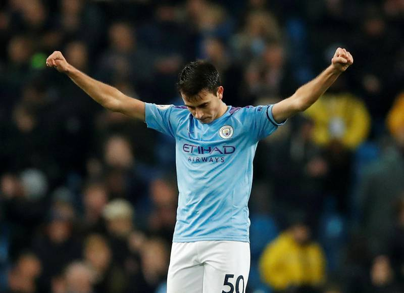 """FILE PHOTO: Soccer Football - Premier League - Manchester City v Sheffield United - Etihad Stadium, Manchester, Britain - December 29, 2019   Manchester City's Eric Garcia celebrates after the match   Action Images via Reuters/Andrew Boyers    EDITORIAL USE ONLY. No use with unauthorized audio, video, data, fixture lists, club/league logos or """"live"""" services. Online in-match use limited to 75 images, no video emulation. No use in betting, games or single club/league/player publications.  Please contact your account representative for further details./File Photo"""
