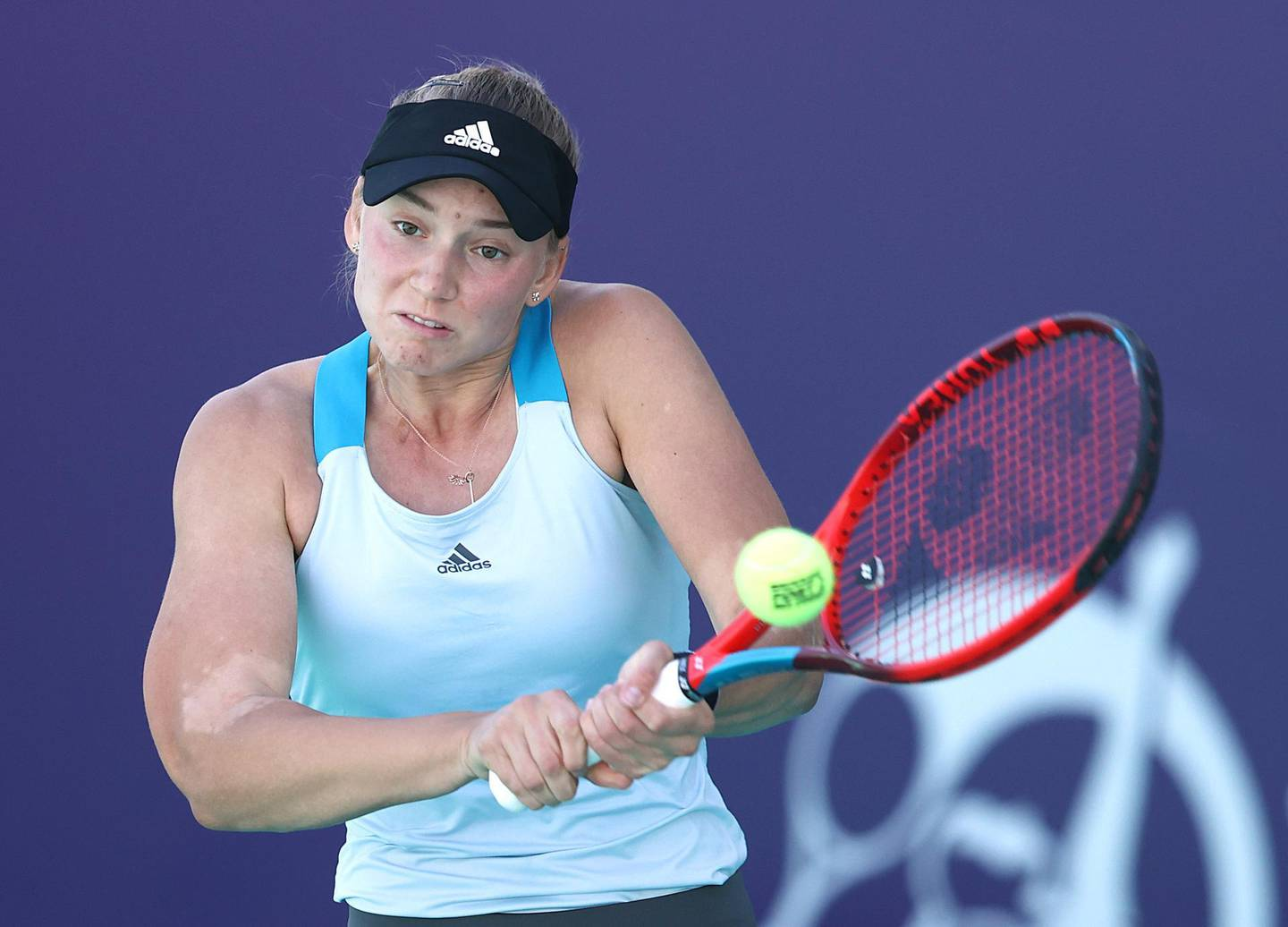ABU DHABI, UNITED ARAB EMIRATES - JANUARY 10:  Elena Rybakina of Kazakhstan in action against Daria Kasatkina of Russia during her Women's Singles match on Day Five of the Abu Dhabi WTA Women's Tennis Open at Zayed Sports City on January 10, 2021 in Abu Dhabi, United Arab Emirates. (Photo by Francois Nel/Getty Images)