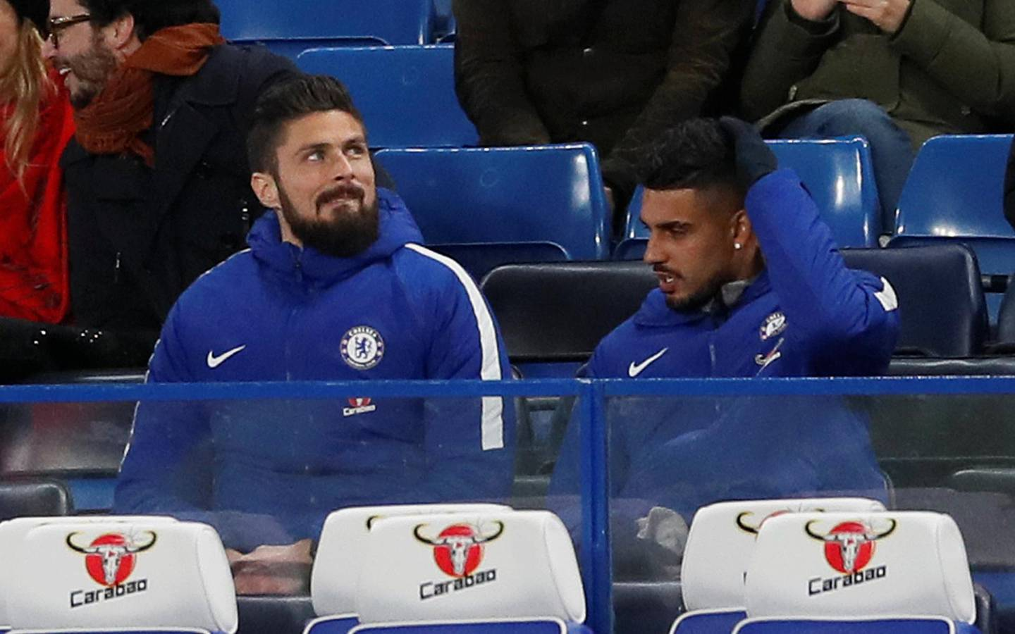 """Soccer Football - Premier League - Chelsea vs AFC Bournemouth - Stamford Bridge, London, Britain - January 31, 2018   Chelsea's Olivier Giroud and Emerson Palmieri in the stands   REUTERS/David Klein    EDITORIAL USE ONLY. No use with unauthorized audio, video, data, fixture lists, club/league logos or """"live"""" services. Online in-match use limited to 75 images, no video emulation. No use in betting, games or single club/league/player publications.  Please contact your account representative for further details."""