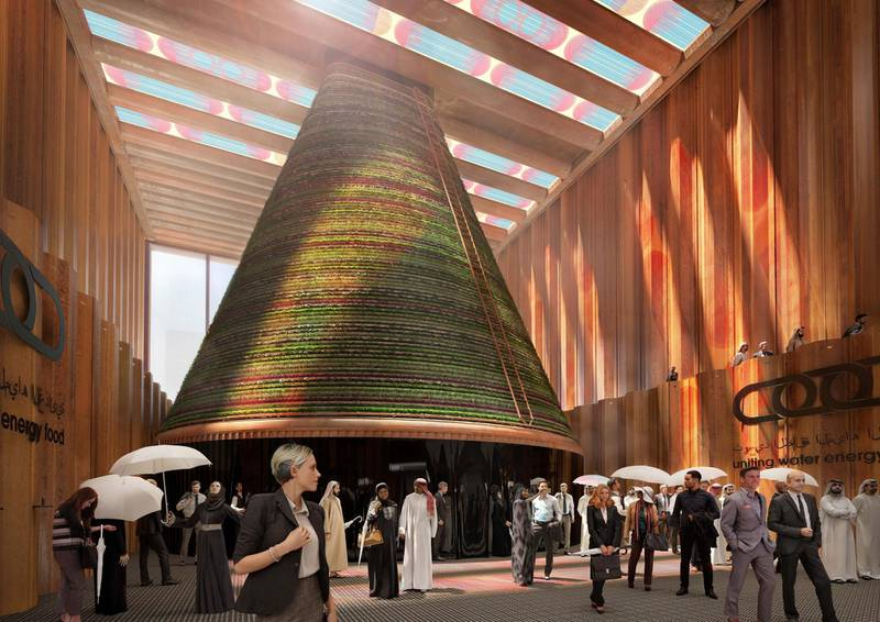 FOR RAMOLA'S STORY ON NETHERLANDS EXPO PAVILION. The Netherlands pavilion will harvest water, energy and food in a cone-shaped vertical farm. Courtesy: V8 Architects