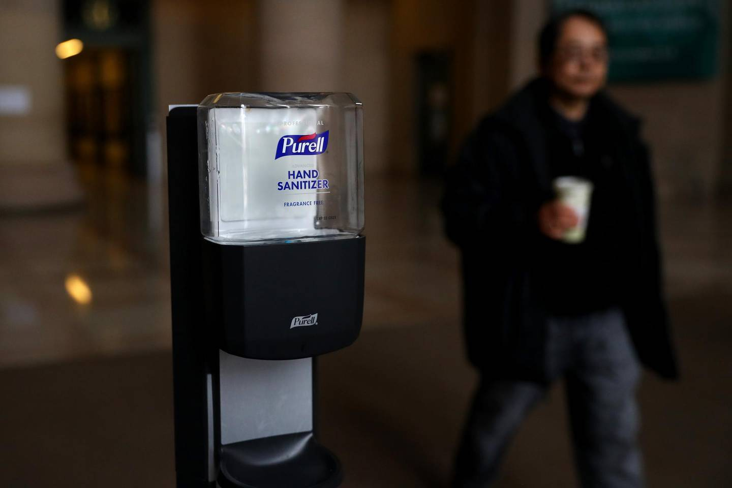 CAMBRIDGE, MASSACHUSETTS - MARCH 12: Purell hand sanitizer inside the Information Center on the campus of Massachusetts Institute of Technology on March 12, 2020 in Cambridge, Massachusetts. Students have been asked to move out of their dorms by March 17 due to the Coronavirus (COVID-19). risk. All classes will be moved online for the rest of the spring semester.   Maddie Meyer/Getty Images/AFP == FOR NEWSPAPERS, INTERNET, TELCOS & TELEVISION USE ONLY ==