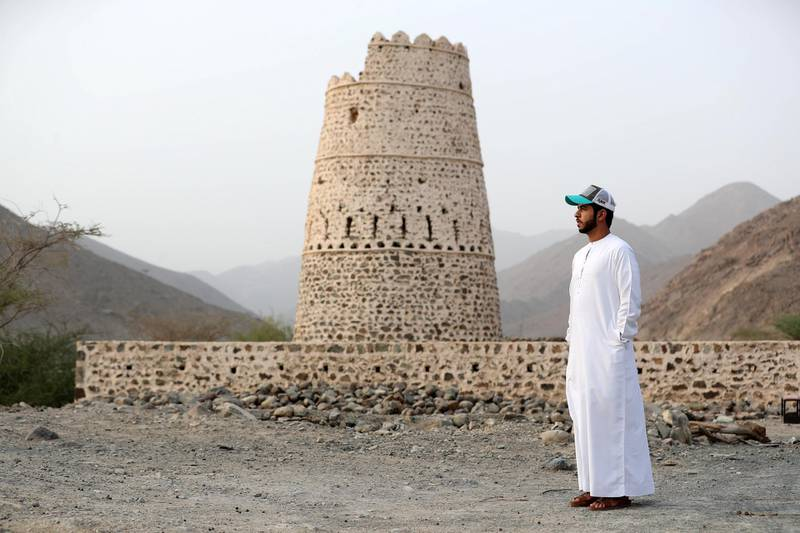 Sharjah, United Arab Emirates - September 24, 2018: Khaled Al Mazroui. Neighbourhood watch series. Wadi Al Helo town also known as sweet valley. Residents talking about the town, archaeological site and the valley. Monday, September 24th, 2018 at Wadi Al Helo, Sharjah. Chris Whiteoak / The National